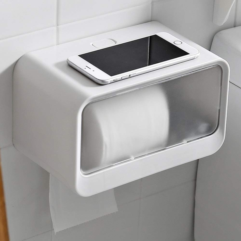 HAOMINGTIAN Tissue Box - Multi-Purpose Toilet Paper Holder Wall-Mounted Punch-Free Tissue Box with Storage Trash Bag Holder for Bathroom or Kitchen (Color : Gray)