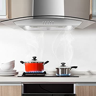 "COSTWAY 30"" Wall Mount Range Hood Stainless Steel Kitchen Cooking Vent Fan with LED Light"