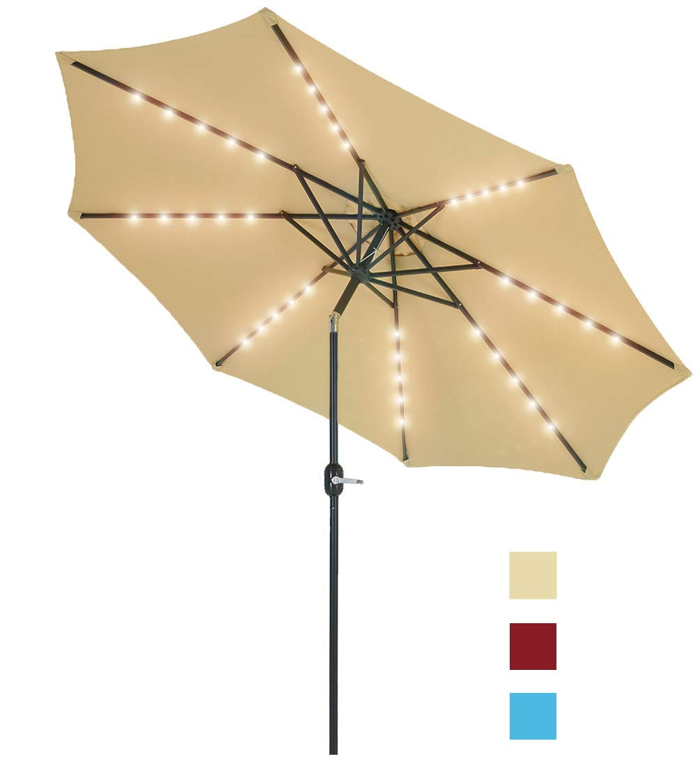 Patio Watcher 9 Feet Solar Umbrella 40 LED Lighted Patio Umbrella Outdoor Umbrella Market Table Umbrella with Push Button Tilt and Crank, 8 Steel Ribs, Beige