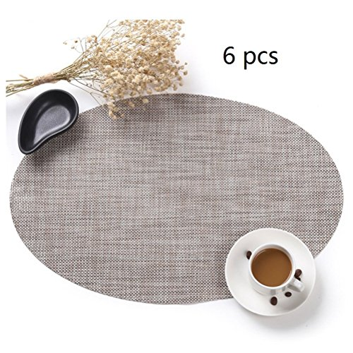 Firelong Oval Table Placemats Non-slip Insulation Woven Vinyl Washable Table Mats,Pecfect for Round Oval Tables - Set of 6 (Beige)