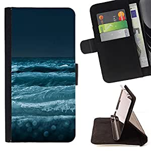 BullDog Case - FOR/Samsung Galaxy S3 III I9300 / - / Nature Sea Waves /- Monedero de cuero de la PU Llevar cubierta de la caja con el ID Credit Card Slots Flip funda de cuer