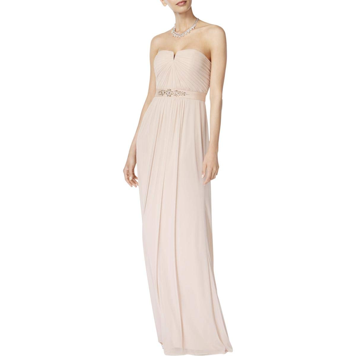 bluesh Adrianna Papell Womens Strapless Jeweled Formal Dress