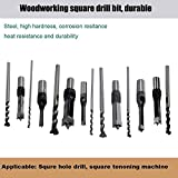 Square Hole Drill Bit, Steel Hardness Sharp Durable Mortising Chisel Set 1/2-Inch, 1/4-Inch, 3/4inch, 3/8-Inch, 5/8-Inch, 5/16-Inch, 9/16-Inch Woodworking Mortiser Drill Bit-7pcs