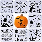 #9: Xgood Halloween Painting Stencils Set 8 Pack DIY Drawing Decorative Laser Cut Plastic Stencils for Bullet Journal Painting on Wood,Walls,Kids Fun