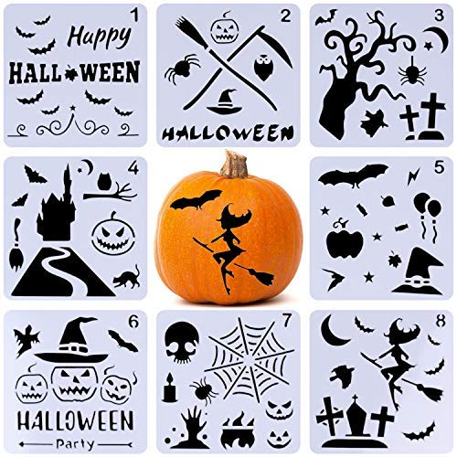Xgood Halloween Painting Stencils Set 8 Pack DIY Drawing Decorative Laser Cut Plastic Stencils for Bullet Journal Painting on Wood,Walls,Kids Fun