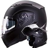 Motorcycle / Snowmobile Matte Black Dual Visor Modular Helmet DOT (Size: Large)