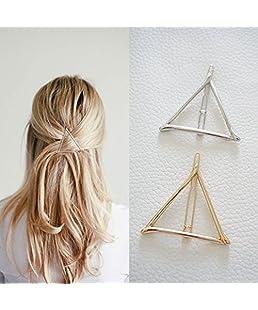 DDGE DMMS Minimaliste géométrique Triangle Pince à Cheveux, Dainty Creux en métal Pinces à Cheveux Barrettes Accessoires Bobby Broches Queue de Cheval Support Déclaration (Or et Argent)