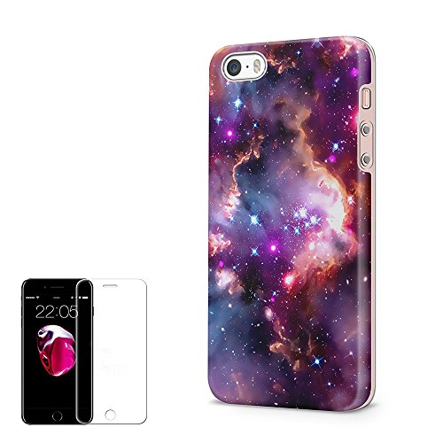 Obbii Case for iPhone 5/5S/SE Unique Nebula Galaxy Cloud Design Matte Slim TPU Flexible Soft Silicone Protective Durable Cover Case with Clear Screen Protector Compatible with iPhone 5/5S/SE