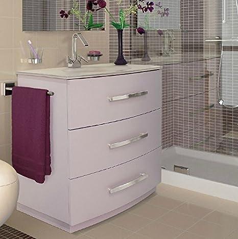Mobile Arredo Bagno in 3 Colori lavabo in Cristallo a Terra con 3 ...