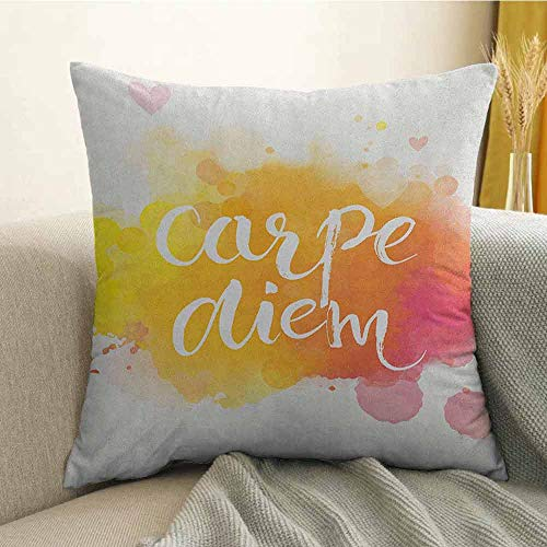Yellow and White Silky Pillowcase Watercolor Style with Carpe Diem Seize The Day Enjoy The Moment Super Soft and Luxurious Pillowcase W18 x L18 Inch Yellow Marigold Pink