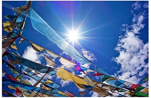 dollbling tibetano budista oraci/ón bandera seda color Print 3,5/metros 10/pcs//cuerda religiosa banderas escrituras templo Decor placa Streamer