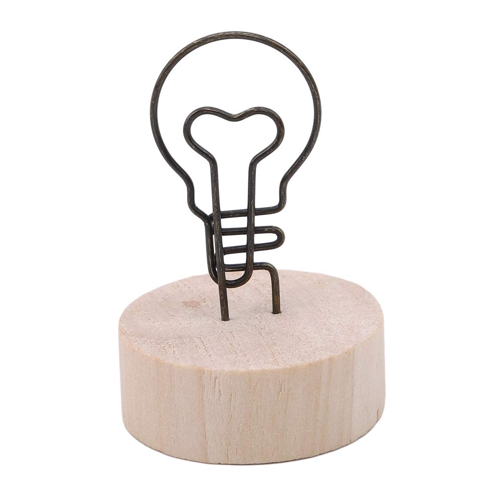 EH-LIFE Wooden Folder Cute Round Various Cartoon Shape Decoration Iron Clip Photo Memo Card Frame Pendant Light Bulb Shape