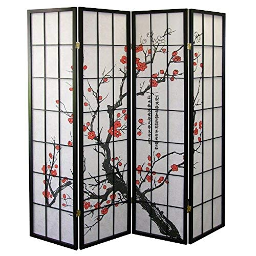 Legacy Decor 4-Panel Blossom Screen Room Divider, Black -