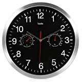 BELIEVE-IN Silent Wall Clock, Metal Thermometer Hygrometer, Temperature Humidity Meter Clock, Quiet Sweep Movement No-Ticking Home Art Decor Bathroom 32cm