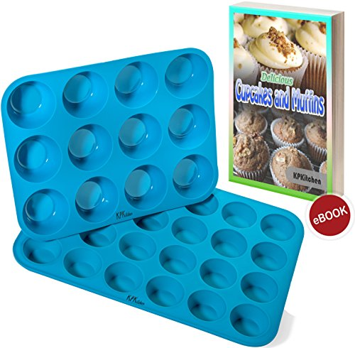 - Silicone Muffin & Cupcake Baking Pan Set (12 & 24 Mini Cup Sizes) - Non Stick, BPA Free & Dishwasher Safe Silicon Bakeware Pans/Tins - Blue Top Home Kitchen Rubber Trays & Molds - Free Recipe eBook