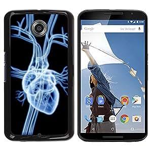 TopCaseStore / la caja del caucho duro de la cubierta de protección de la piel - Heart X Ray - Motorola NEXUS 6 / X / Moto X Pro
