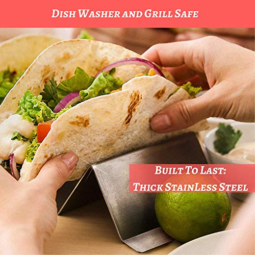 Taco Holder 4 Pack - Stainless Steel Taco Stand with No Slip Side Handles - Serve your Tacos, Fajita Mess Free - Metal Racks Holders for Taco Shell, Tortilla, Burrito And More. Oven And Grill Safe by Ultimate Hostess (Image #3)