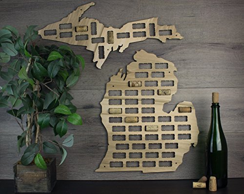 Wooden Shoe Designs Michigan Wine Cork Map, Tan