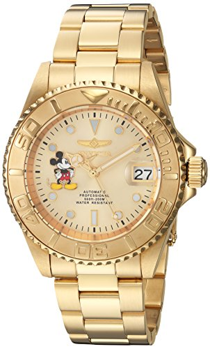 Invicta Men's Disney Limited Edition Automatic-self-Wind Watch with Stainless-Steel Strap, Gold, 9 (Model: 22779) Disney Gold Tone Bracelet