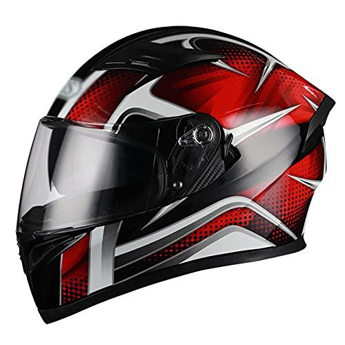 LIXIAOHONGG Motorhelm ECE , Full Face Motorfiets Crash Helmen, Racing Motorhelm Met Zonneklep Goedgekeurd Glasvezel…
