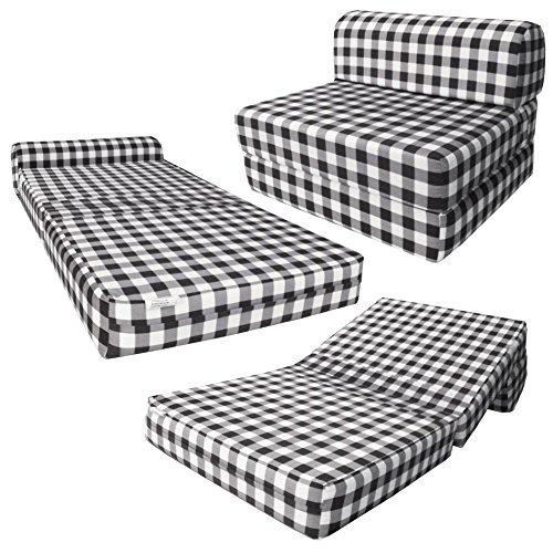 Black & White Checkers Sleeper Chair Folding Foam Bed Siz...
