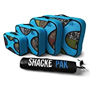 Shacke Pak - 4 Set Packing Cubes - Travel Organizers with Laundry Bag (Aqua Teal)