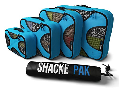 Shacke Pak - 4 Set Packing Cubes - Travel Organizers with Laundry Bag (Aqua Teal) (Double Rolled Handles)
