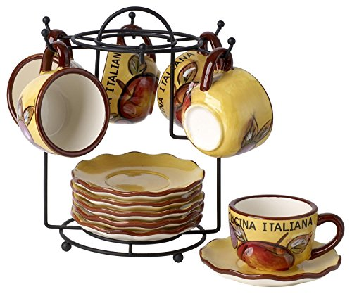 Original Cucina Italiana Ceramic Double Shot Espresso 13 pc Set with Fruit Décor with Organza Pouch