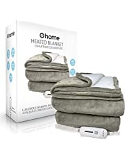 """Premium Heated Blanket, Ultra Soft, 62""""x 84"""" (Queen Size), Grey, Electric Blanket, Plush Blanket, Heated Throw Blanket, Auto Shut Off, Perfect for Warmth and Snuggles, o1home"""