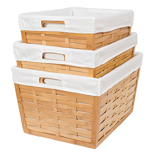 BirdRock 3 Piece Bamboo Nesting Baskets | Environmentally Friendly Storage | Cotton Canvas Liners