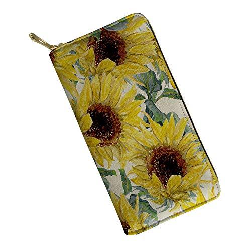 Ladies Clutch Purse Women Wallet Multi-card Fold Long Zipper Clutch Purse,Yellow Sunflower Printing