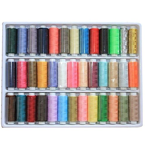 BINGONE 39 Assorted Color Polyester Sewing Thread Spool Set