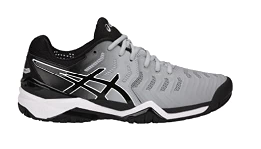 Asics Men's Gel-Resolution 7 Tennis Shoes, Mid Grey/Black/White (