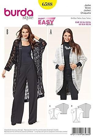 Kimono Forme Couture 6588 Patron Burda Facile Vestes D De Manches 1wXxqpO