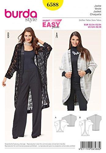 Burda Ladies Easy Sewing Pattern 6588 Kimono Sleeve Egg Shape Jackets