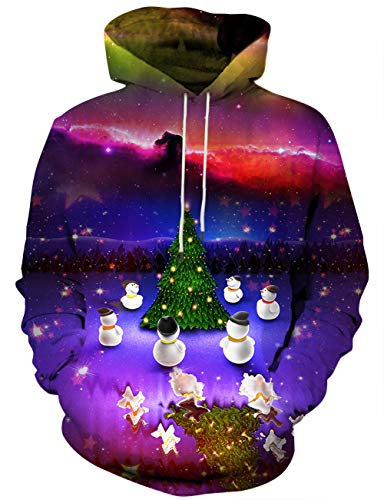 Hgvoetty Ugly Christmas Sweater for Men Women 3D Print Hoodies with Pockets M -