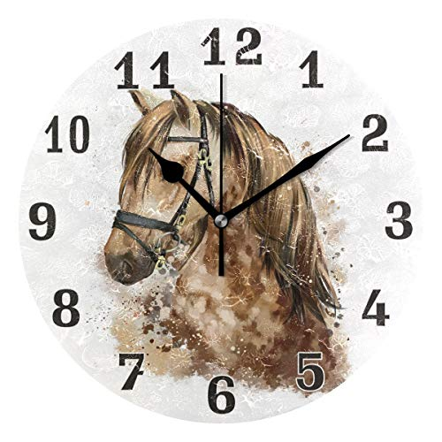 Horse Face Print Wall Clock, Silent Non Ticking