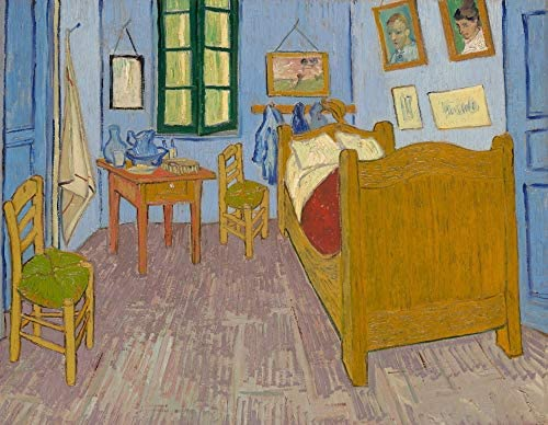 絵画風 壁紙ポスター(はがせるシール式) フィンセント ファン ゴッホ ファン・ゴッホの寝室 1889年 オルセー美術館 キャラクロ K-GOH-100S2 (594mm×460mm) 建築用壁紙+耐候性塗料
