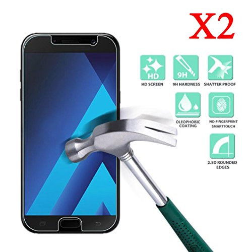 Nesee For Samsung Galaxy A3/A5/A7/Emerge J3 2017 2PCS Screen Protector Protective Film Cover (A3)