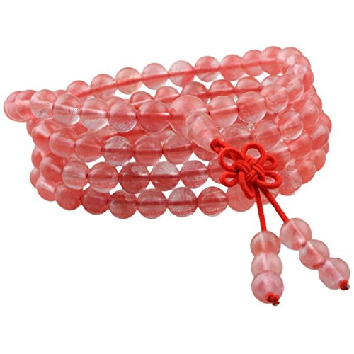 Cherry Quartz Glass Necklace (SUNYIK Cherry Quartz 108 Tibetan Buddhist Mala Bracelet Stone Beaded Prayer)