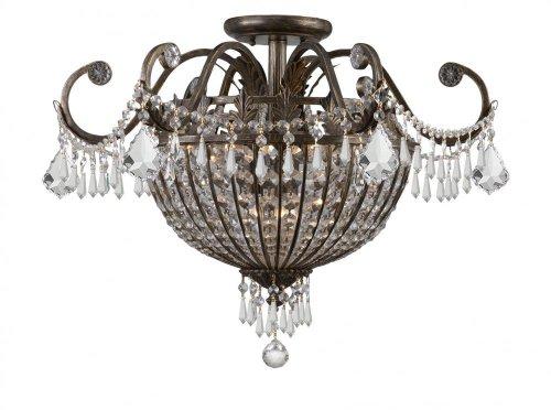 English Bronze Nine Light Wrought Iron Hand Cut Lead Crystal Semi Flush Ceiling ()