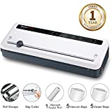 Vacuum Sealer Machine with Built-in Cutter for Dry and Moist Food Fresh Preservation Food Saver, Vacuum Roll/Bags Included, White VS3801