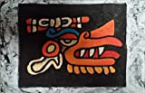 Wooden Aztec Wind God Wall Art, Primitive Wood Plaque, Carved and Painted Wall Hanging. Quetzalcóatl Snake, measure: approx: 8 X 11'' . Made to Order (Allow between 1- 4 weeks for delivery)