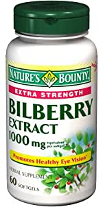 Nature's Bounty Extra Strength Bilberry 1000mg Softgels, 60 Count