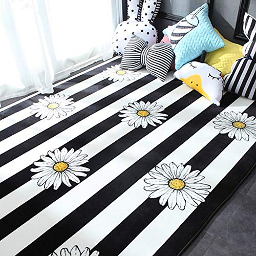 Ukeler Baby Crawling Mat Modern Black and White Striped Area Rugs Cute Daisy Design Kids Play Rug Soft Thicken Area Rugs for Living Room Bedroom Kids Room, 59''x74.8''