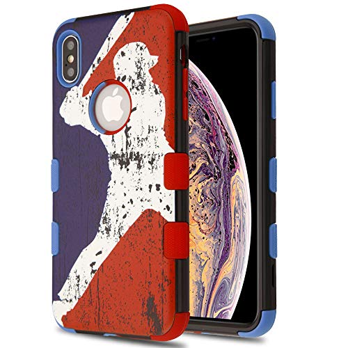 JoJoGold Case for Apple iPhone Xs Max (6.5 Inch), Image Design Hybrid, Heavy Duty Hard Cover, Comes with Tempered Glass Screen Protector - Vintage Baseball Logo