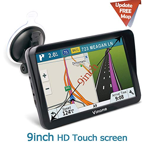 9inch HD Vinone GPS Navigation for car/Truck Capacitive Big Touchscreen, [2019 Upgraded Version] Voice Trun-by-Turn Route Guidance, Speed Limit Reminder Free Lifetime Map Update