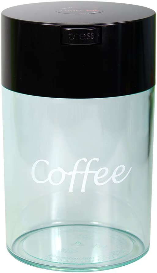 Tightpac America, Inc. Coffeevac 1 lb - The Ultimate Vacuum Sealed Coffee Container, Black Cap & Clear Body w/Logo