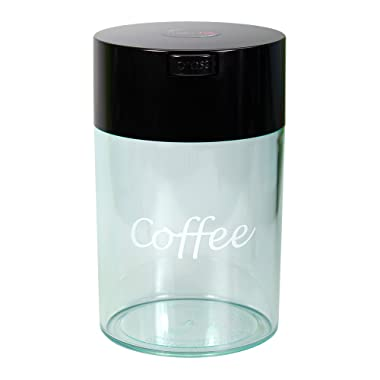 Coffeevac 1 lb - The Ultimate Vacuum Sealed Coffee Container, Black Cap & Clear Body w/Logo