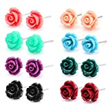Charisma Stainless Steel Rose Stud Earrings for Girls Women Assorted Color Earring 8 pairs Gift Set